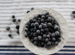 Frozen blueberries in a white bowl
