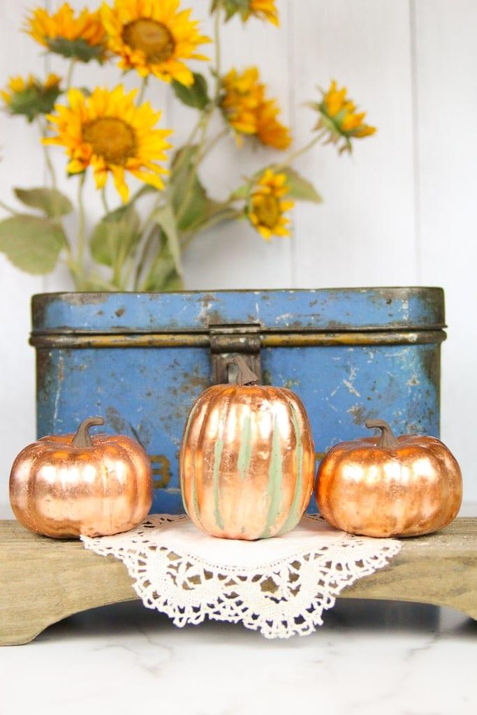 How to Copper Leaf a Pumpkin | Fall Farmhouse Decor
