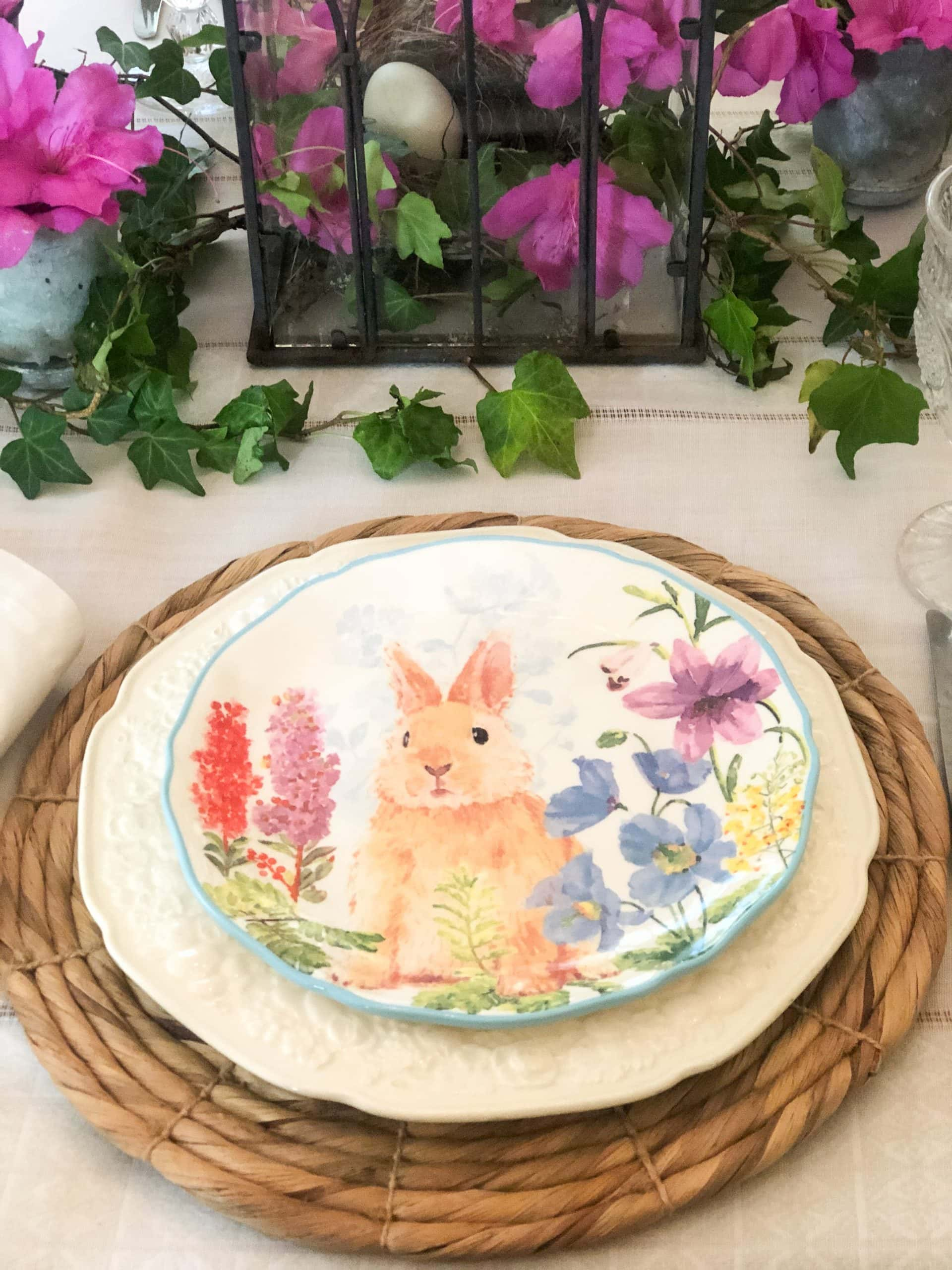 spring table setting bunny place setting