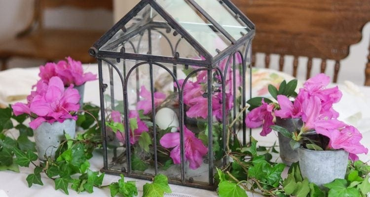 Spring table centerpiece with ivy and azaleas